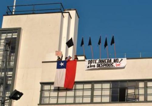 Protesta de Anfucultura durante actividad de Piñera en Valparaíso