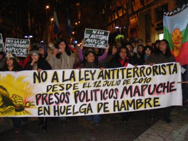 Multitudinaria manifestación en favor de los presos políticos mapuche en huelga de hambre