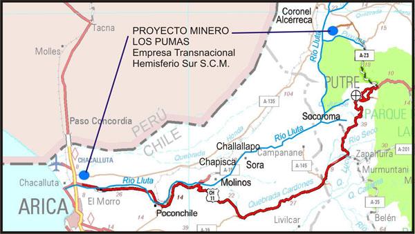 Proyecto minero Los Pumas amenaza a comuneros del río LLuta en el norte de Chile