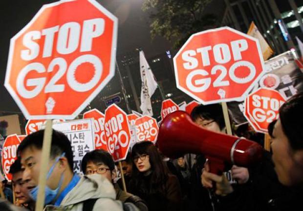 Masiva protesta de coreanos contra el G-20