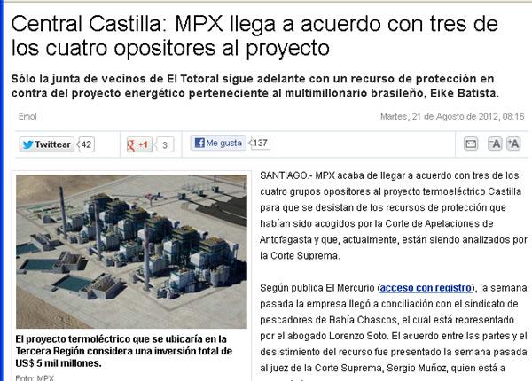 El Mercurio Miente sobre conflicto Termoeléctrica Castilla