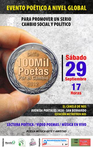 Este sábado en chile: movimiento global 100 Mil Poetas por el Cambio