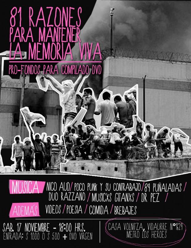 Este sábado actividad solidaria para financiar dvd-libro sobre los 81 presos muertos en San Miguel