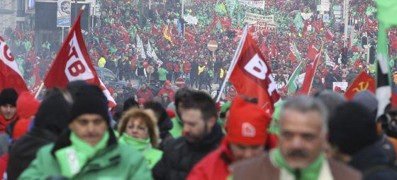 Bélgica se moviliza contra las políticas neoliberales