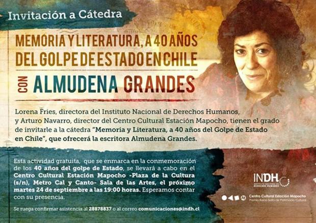 """Almudena Grandes ofrece cátedra """"Memoria Histórica y Literatura: A 40 Años del Golpe de Estado en Chile"""""""