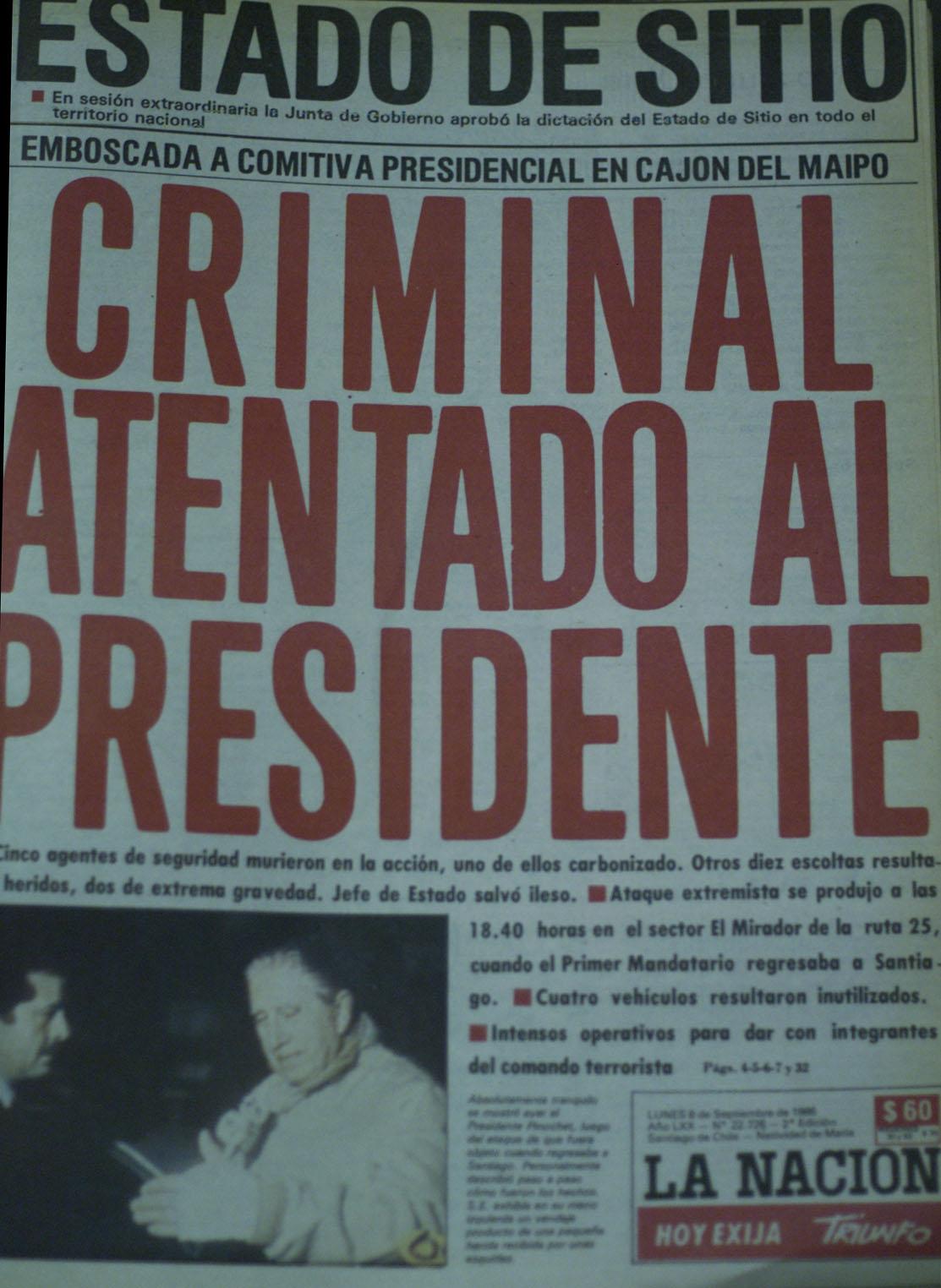 A 28 años del atentado a Pinochet: Mira cómo tituló la prensa de la época al día siguiente