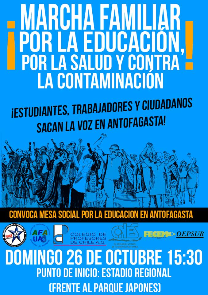 Antofagasta: Marcha por la educación, la salud y contra la contaminación