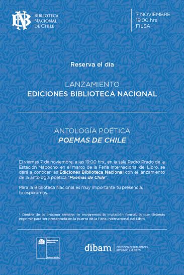 Reserva el día: Lanzamiento «Poemas de Chile»