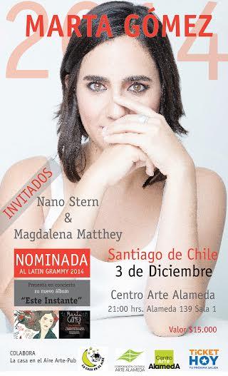 Concierto exclusivo de cantautora colombiana Marta Gómez en Centro Arte Alameda