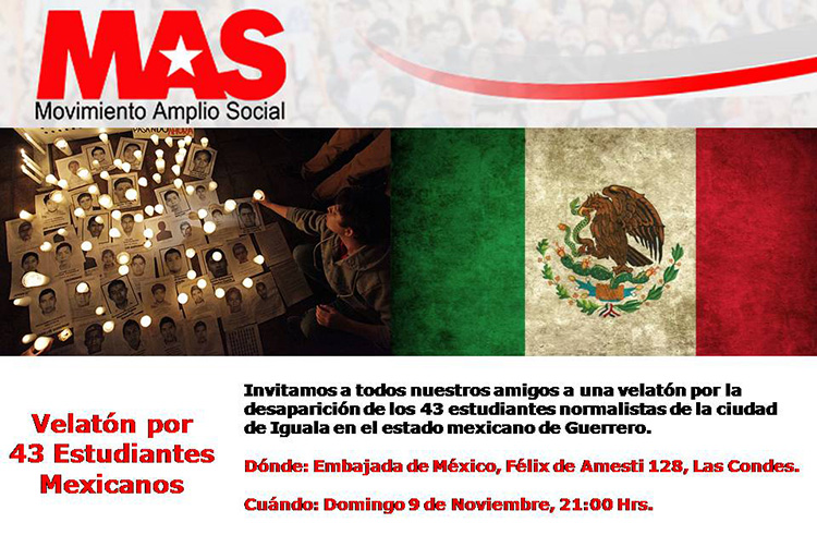 Velatón por los 43 estudiantes mexicanos hoy en Santiago de Chile