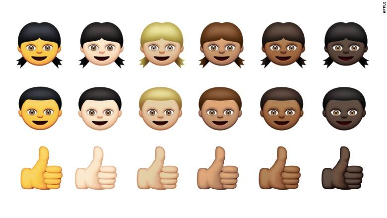 Diversos iconos emoji: los emoticones tendrán seis tonos de piel distintos