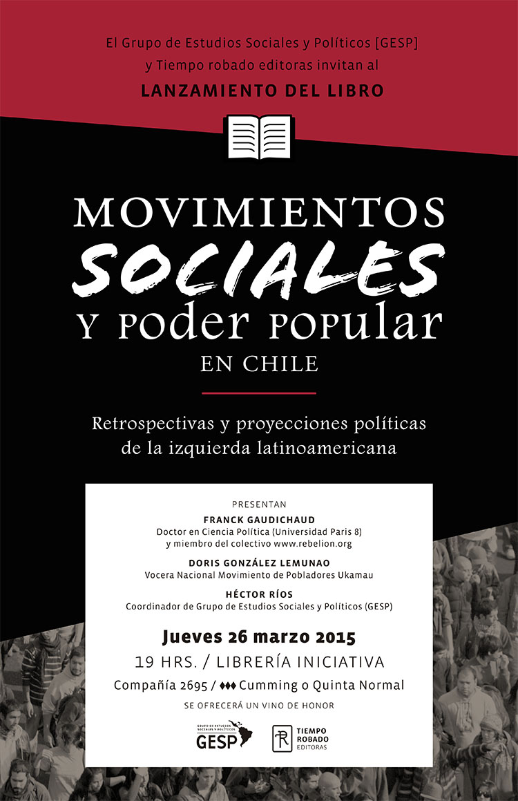 """Lanzan en Santiago el libro """"Movimientos Sociales y Poder Popular en Chile"""""""