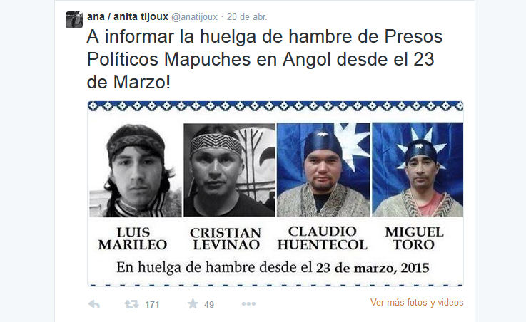 "Ana Tijoux llama ""a informar"" sobre la huelga de hambre de presos políticos mapuche"