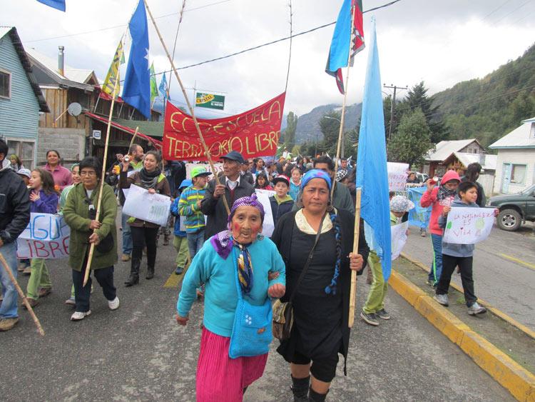 Pueblo mapuche y comunidades locales marcharon contra el extractivismo e hidroeléctricas
