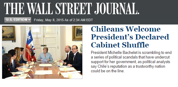 Cambio de gabinete de Bachelet sorprende en todo el mundo