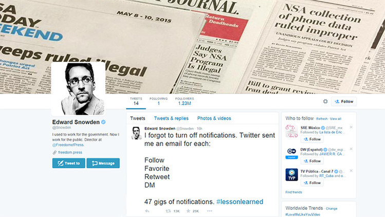 ¿Qué error ha cometido Edward Snowden en su cuenta de Twitter?