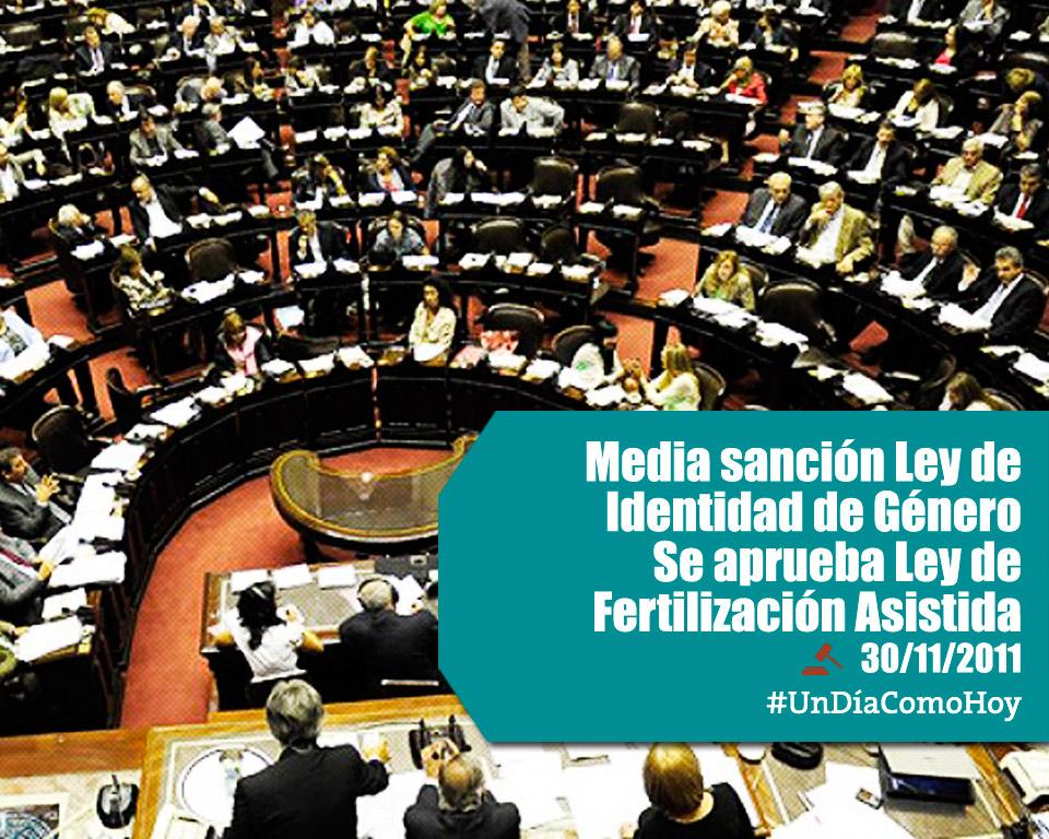 #UnDíaComoHoy se sanciona la Ley de Identidad de Género y se aprueba la Ley de Fertilización Asistida.