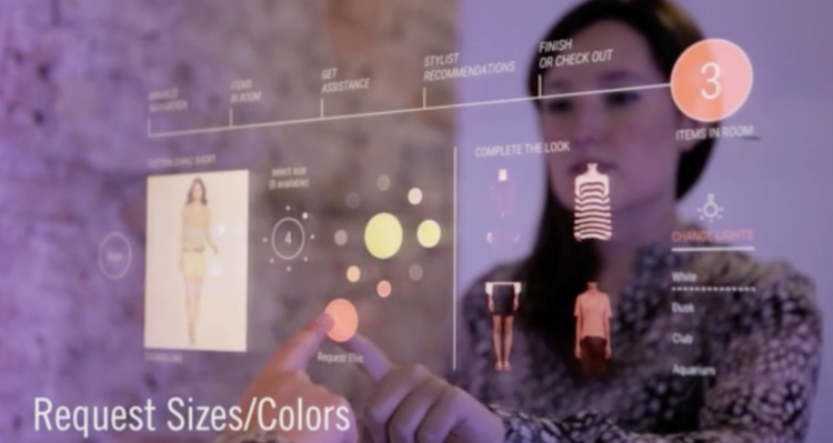 Crean un futurista probador de ropa con espejo táctil interactivo