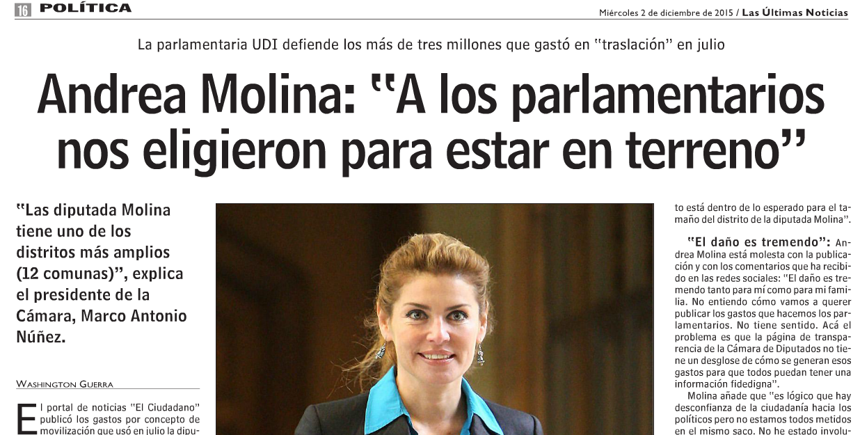 La excusa agrava la falta: Diputada Andrea Molina trata de justificar los $3 millones en «traslado»