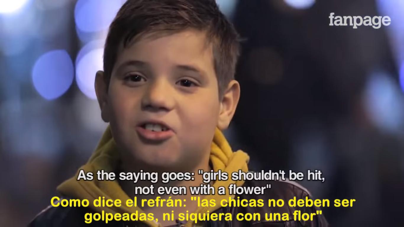 «Las chicas no deben ser golpeadas, ni siquiera con una flor»