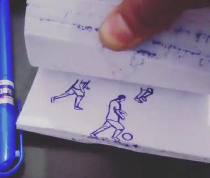 Uno de los mejores goles de Messi, recreado con una lapicera