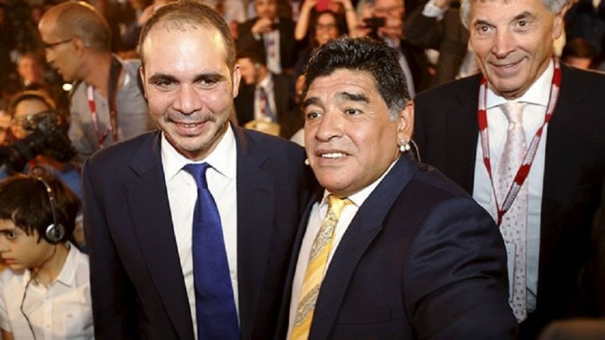 Para Alí Bin al Hussein, Maradona no es su candidato a vice de la FIFA
