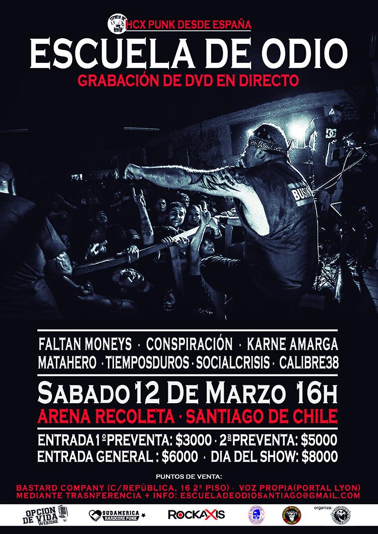 """""""Escuela de Odio"""" tocará en Santiago y en otras cinco ciudades de Chile"""