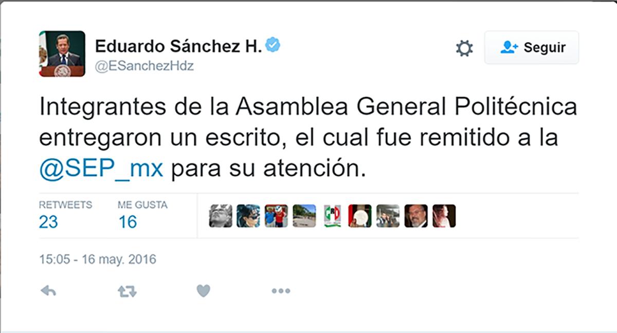 La presidencia de la republica remite el pliego de los Politécnicos a la SEP