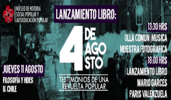 Núcleo de Investigación de la U. de Chile lanzará libro sobre jornada de protesta del 4 de agosto de 2011