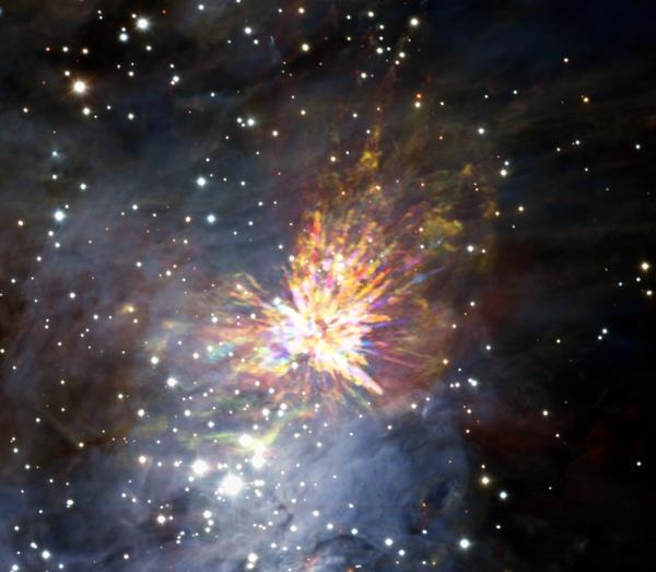 Astrónomos captan una gran explosión de estrellas en Orión a través de ALMA