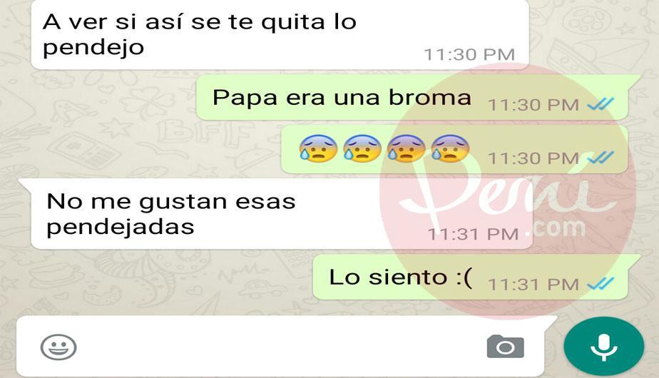 Se entera por WhatsApp de la infidelidad de su padre y así lo encara