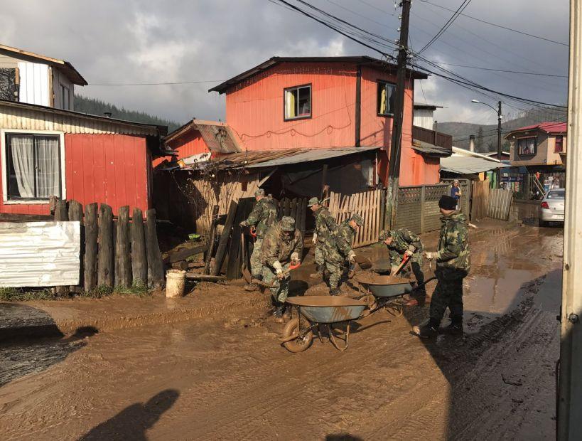 Temporal: Limpieza de calles y casas en Curanilahue tardaría al menos una semana