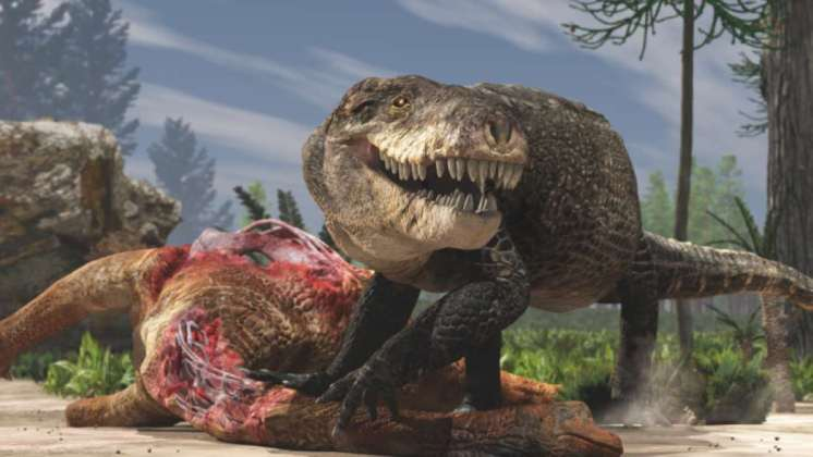 El ancestro prehistórico del cocodrilo tenía dientes como los del T. Rex
