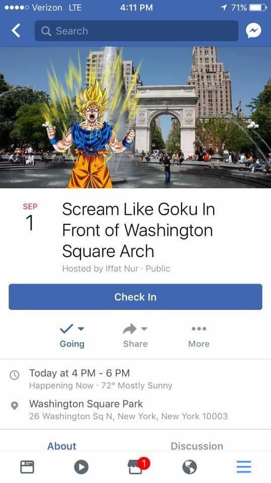 Cientos de fans de Dragon Ball se reunen en Nueva York para protestar gritando como Gokú