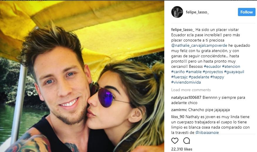 (Fotos) Ex galán reality, Felipe Lasso, voló a Ecuador para dar rienda suelta a comentada relación amorosa con Nathalie Carvajal