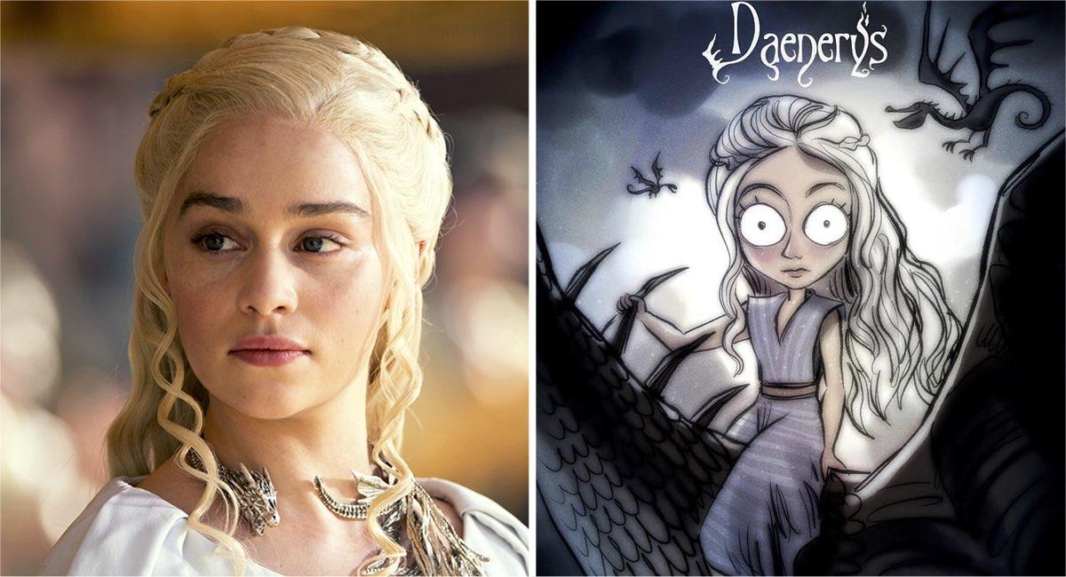 """Así se verían los personajes de """"Game Of Thrones"""" al estilo de Tim Burton. Jon Snow está de película"""