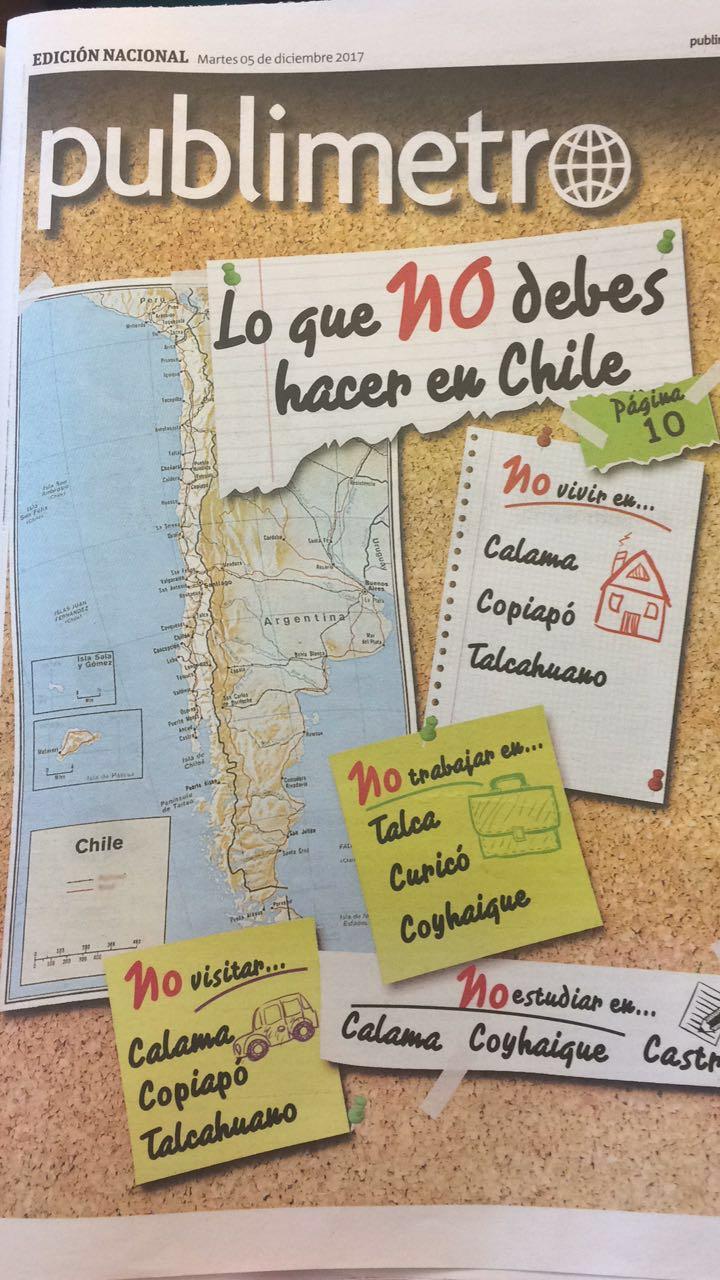 Colegio de Periodistas cuestiona portada de Publimetro por estigmatización de ciudades de regiones