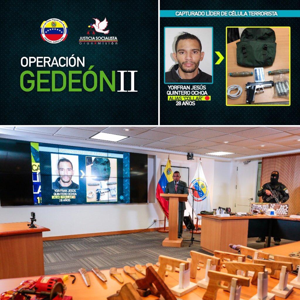 Venezuela desmantela célula terrorista en Operación Gedeón II