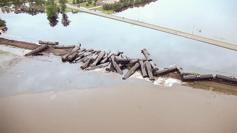 Derrame  de petróleo en EE.UU, tras descarrilamiento de tren