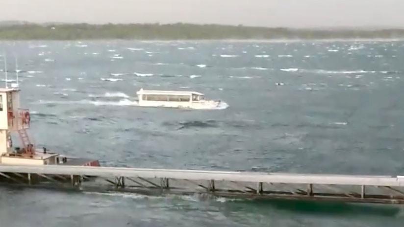 (Video) Nave en lago de Estados Unidos fue grabada antes de sucumbir