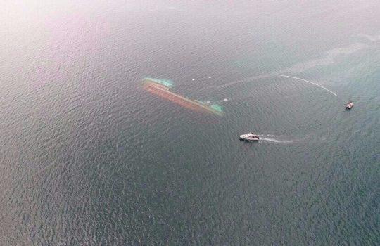«Mientras buscan miles de salmones tóxicos, deben sacar un barco hundido»: Greenpeace por reflotamiento de nave en Chiloé