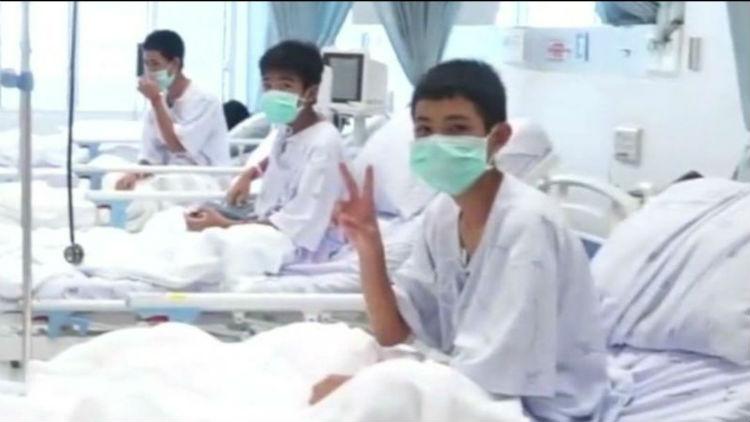 (+Video) Publican primeras imágenes desde el hospital donde están los niños rescatados en cueva de Tailandia