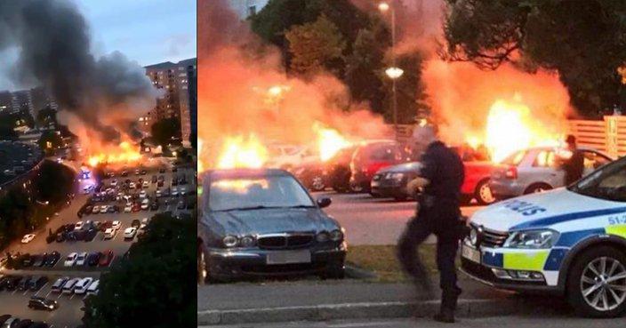 (Video) Pandillas callejeras atacan e incendian carros en Suecia