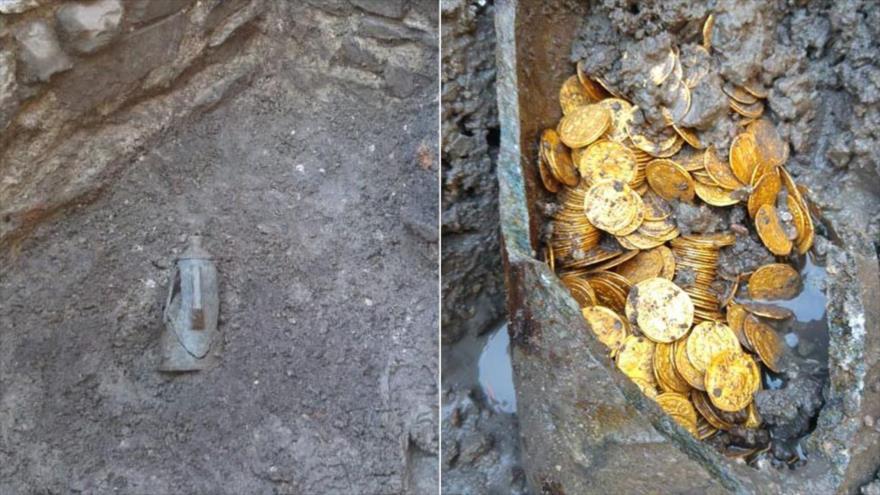 (Fotos) Encuentran 300 monedas de oro que datan de la época del Imperio Romano