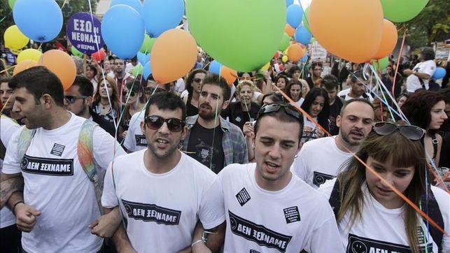 Organizaciones y movimientos progresistas marchan contra el fascismo en Grecia