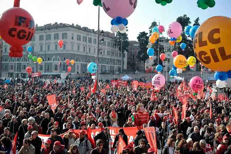Sindicatos en Italia protagonizan huelga nacional de 24 horas