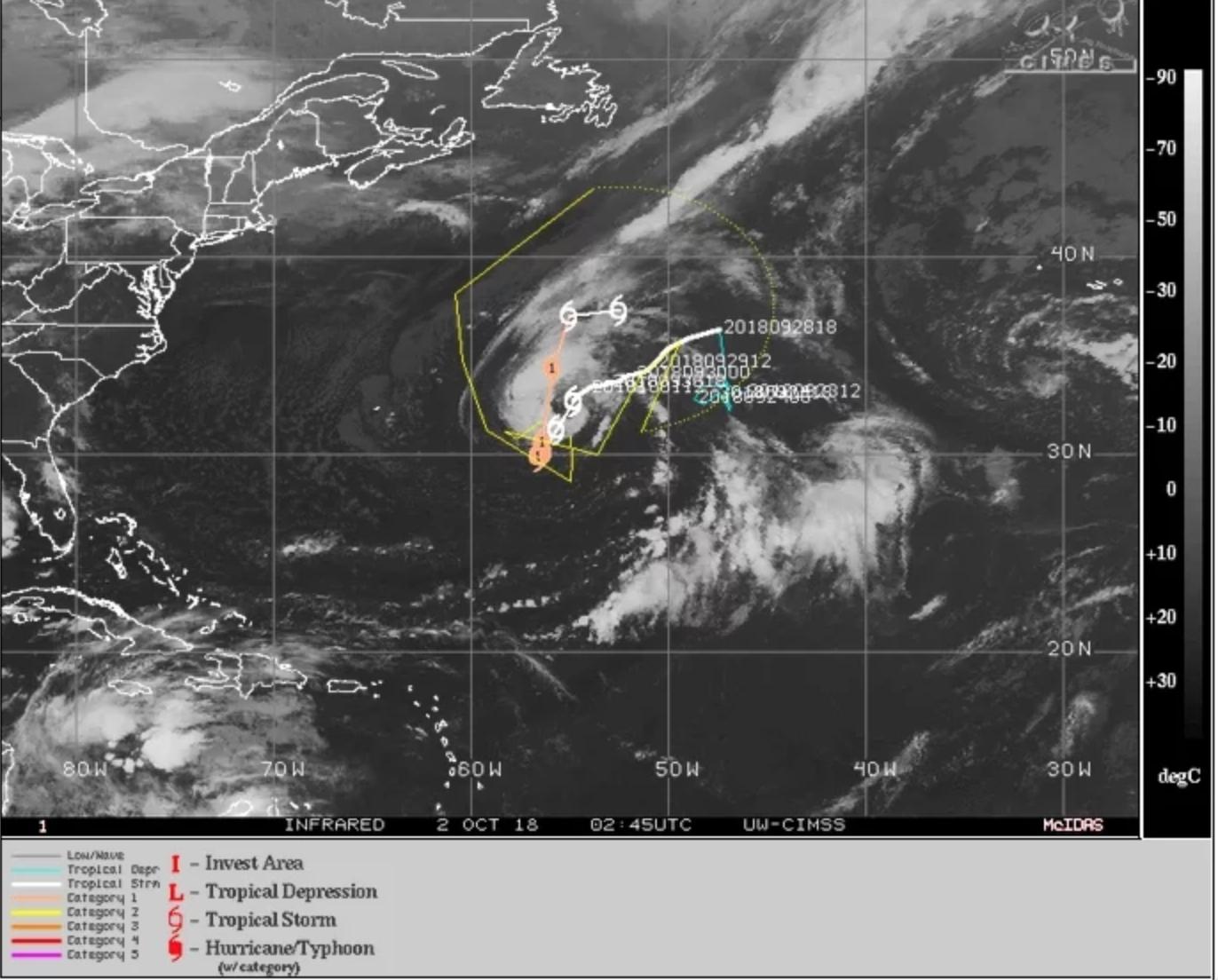 """Confirmado: tormenta tropical """"Leslie"""" se convierte en huracán"""