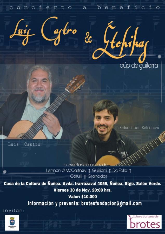 Concierto de guitarra será presentado por Dúo Étchycas en Chile