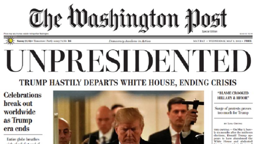 Renuncia de Trump se da a conocer en edición falsa del periódico The Washington Post