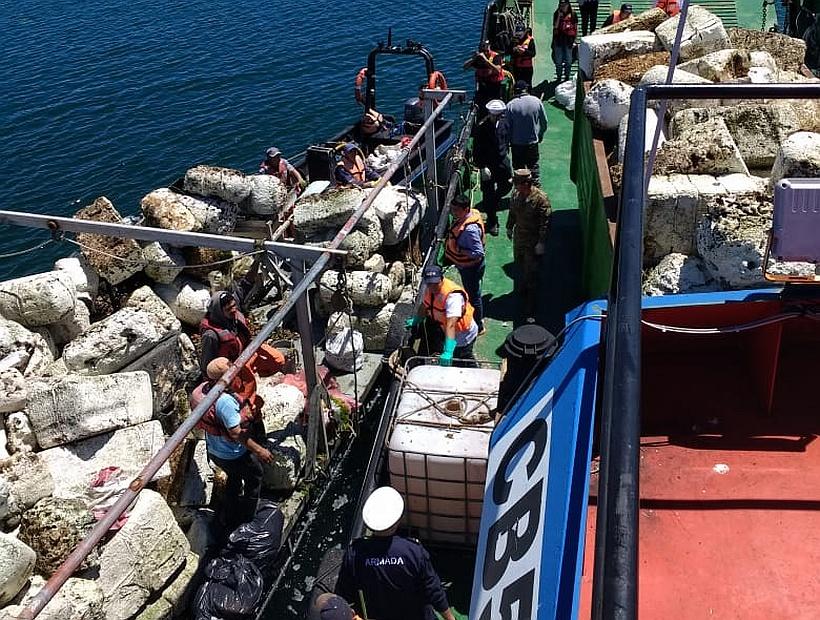 Calbuco: Operativo retira 180 metros cúbicos de basura desde el borde costero